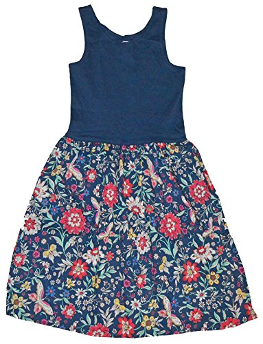GAP Kids Girls Navy Floral Mix-Fabric Tank Sun Dress XL 12