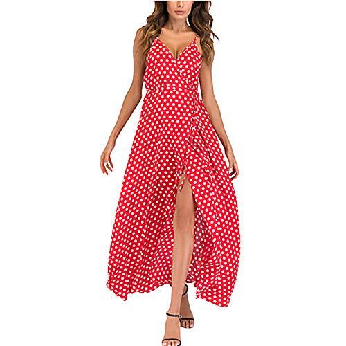 Vestido XXXXL Swing Red Escote Corte Mujer V JIZHI En Primavera Profunda Maxi Oxqt64w