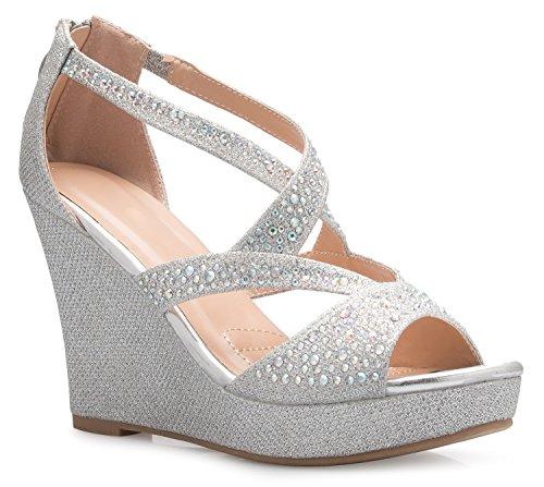 OLIVIA K Women's Sexy Rhinestone Platform Wedge Sandal