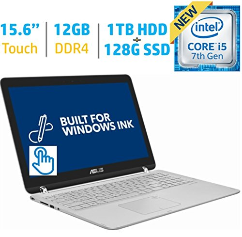 Asus 2-in-1 15.6-inch Touchscreen FHD 1080p IPS Laptop PC, Intel i5-7200u 2.50GHz, 12GB RAM, 1TB HDD+128GB SSD Hybrid, Bluetooth, HDMI Backlit Keyboard, Fingerprint Reader Windows 10 (16 Gb Solid State Hard Drive)