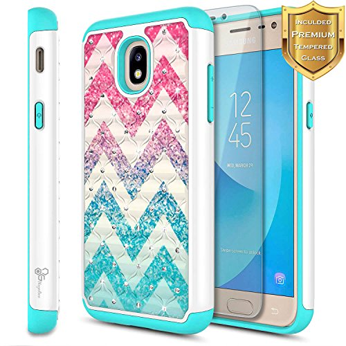 Galaxy J7 Star Case, J7 Refine/J7 Crown/J7 TOP/J7 V 2nd Gen/J7 Aura w/[Tempered Glass Screen Protector] NageBee Glitter Diamond Hybrid Studded Rhinestone Bling Cute Case for Samsung J7 2018 -Wave