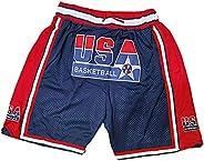 USA Dream Team 9# Jordan Basketball Shorts for Men Women, Embroidered Mesh Comfortable Breathable Pocket Short