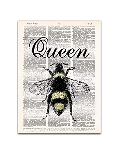 Queen Bee Dictionary Page Art Print, 8x11 inches, Unframed from Waterstone Creations