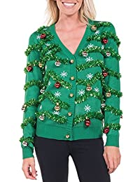 Tipsy Elves Women's Gaudy Garland Cardigan - Tacky Christmas Sweater with Ornaments