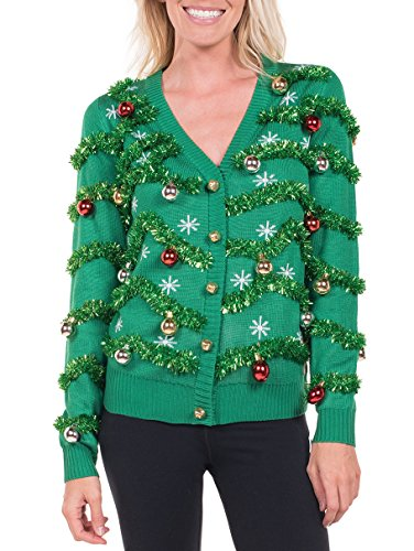Women's Gaudy Garland Cardigan - Tacky Christmas Sweater with Ornaments: Medium -