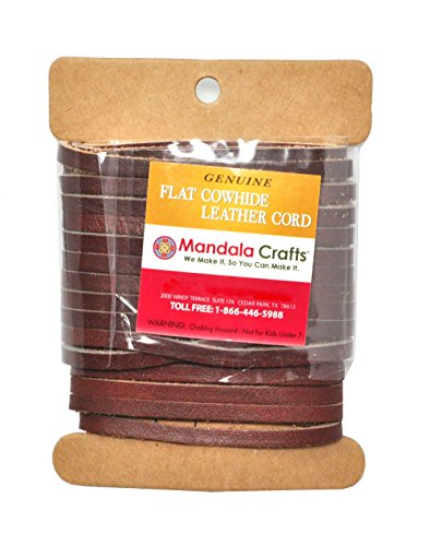 Mandala Crafts Flat Cowhide Genuine Leather String Cord Lace, Rawhide Strip for Jewelry Making, Clothing, Shoelaces, Baseball Gloves, and Saddles (4mm 6.55 Yards, Light Brown)