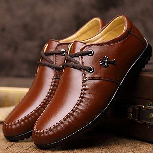 Scarpe Comfort Stringate Uomo di WLFHM Scarpe Brown Scarpe Affari Cuoio Casual E8nz6qp