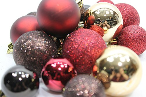20 Holiday Time Mini Shatterproof Satin Shiny and Glitter Finish Bulb Christmas Ornaments (Gold Red & Brown)
