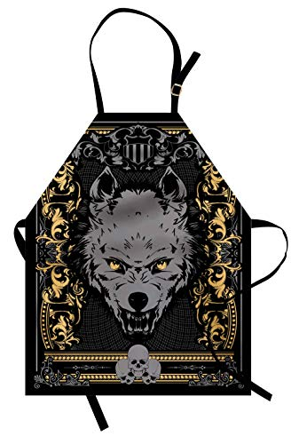 Lunarable Scary Apron, Victorian Gothic Wolf Portrait with