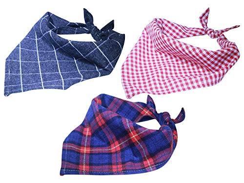 LuvFur Pet Bandana for All Pets, 3 Pack of Pet Plaid Triangle Scarf Bibs, Suitable for Puppy Small Dog Cats, Machine Washable Soft and Breathable, Triangle Kerchief Dogs Accessory