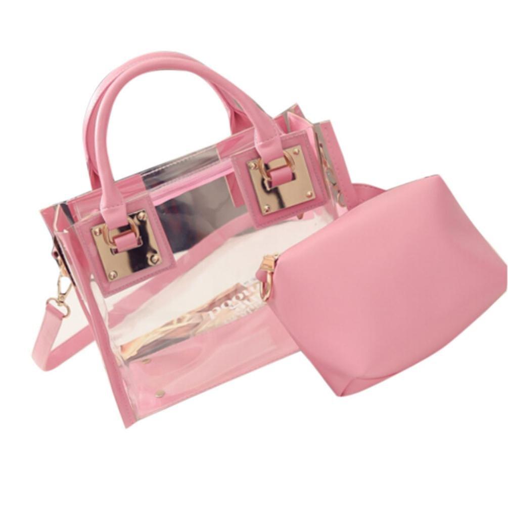 Wome Bags❤️COPPEN Fashion Women Transparent Unique Shoulder Bag Jelly Candy Beach Handbag Messeng Bag (Pink)