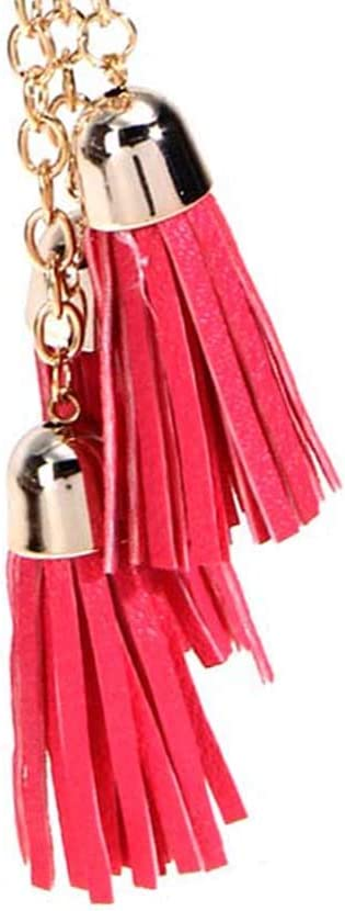 Rouge Cikuso Charme Chic Femmes en Cuir PU Long Gland Fleur Porte-Cles Sac A Main Sac De Porte-Cles Telephone Pendentif Cadeau