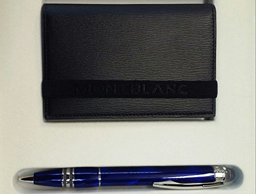 MONTBLANC SET STARWALKER COOL BLUE BP AND WST BUSINESS CARD HOLDER 105763