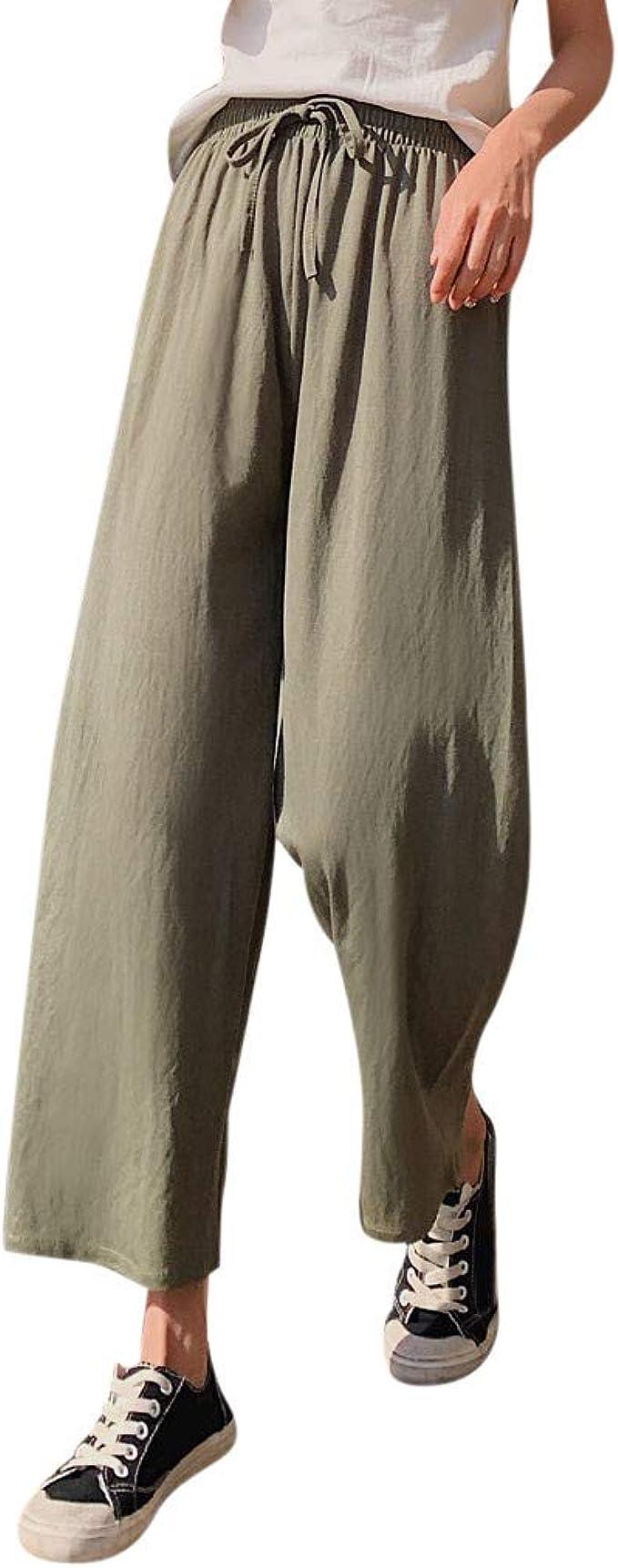 FRAUIT Pantaloni Donna Lino Larghi Pantaloni Ragazza Estivi Eleganti Pantaloni Palazzo Vita Alta Pantalone Estivo Sportivo Pantaloni Elasticizzati Curvy Pantaloni Tuta Cotone Leggero Larghi