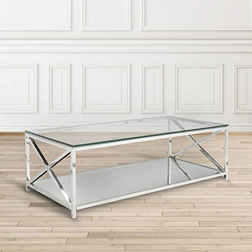 Uptown Club The Ellen Collection Modern Style Steel Frame Tempered Glass Top Living Room Coffee Table