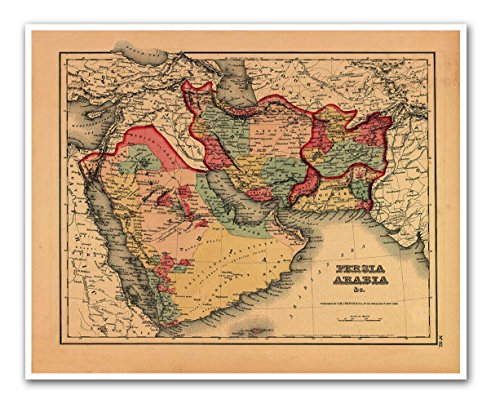 CANVAS MAP of the Middle East including Persia & Arabia circa 1855 - measures 24