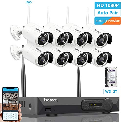 - [Newest Strong Version WiFi] Wireless Security Camera System, ISOTECT 8CH Full HD 1080P Video Security System, 8pcs Outdoor/Indoor IP Security Cameras, 65ft Night Vision and Easy Remote View, 2TB HDD