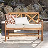WE Furniture AZWXBLSBR X-Back Love Seat with Cushions Outdoor Loveseat
