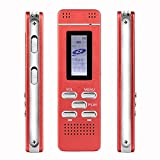 HonTaseng Voice Recorder – Digital Audio Voice Recorder with Double Microphone Record Sound, Portable Dictaphone Metal Body, 8GB Storage use for Meetings Lectures and Classes (Red)
