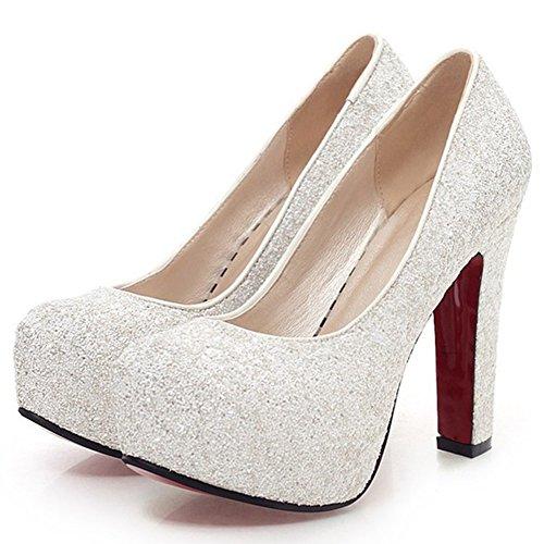 Summerwhisper Women's Sequin Round Toe Chunky High Heel Bridal Shoes Slip on Hidden Platform Pumps