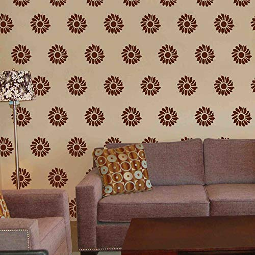 Buy Gallerist Reusable Diy Wall Stencil Painting For Home Decor Glossy Flower Wall Stencil Design For Living Room 1 Stencil Size 9x9 Inches Free 1 Drawing Stencil For Kids Online At