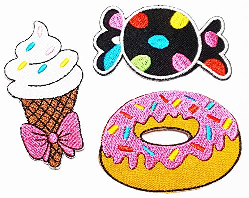 Nipitshop Patches Set of 3 ice-Cream Pink Bow Patch Black Sweet Candy Donut Cartoon Patch for Clothes Backpacks T-Shirt Jeans Skirt Vests Scarf Hat Bag Iron On Appliques Embroidered ()