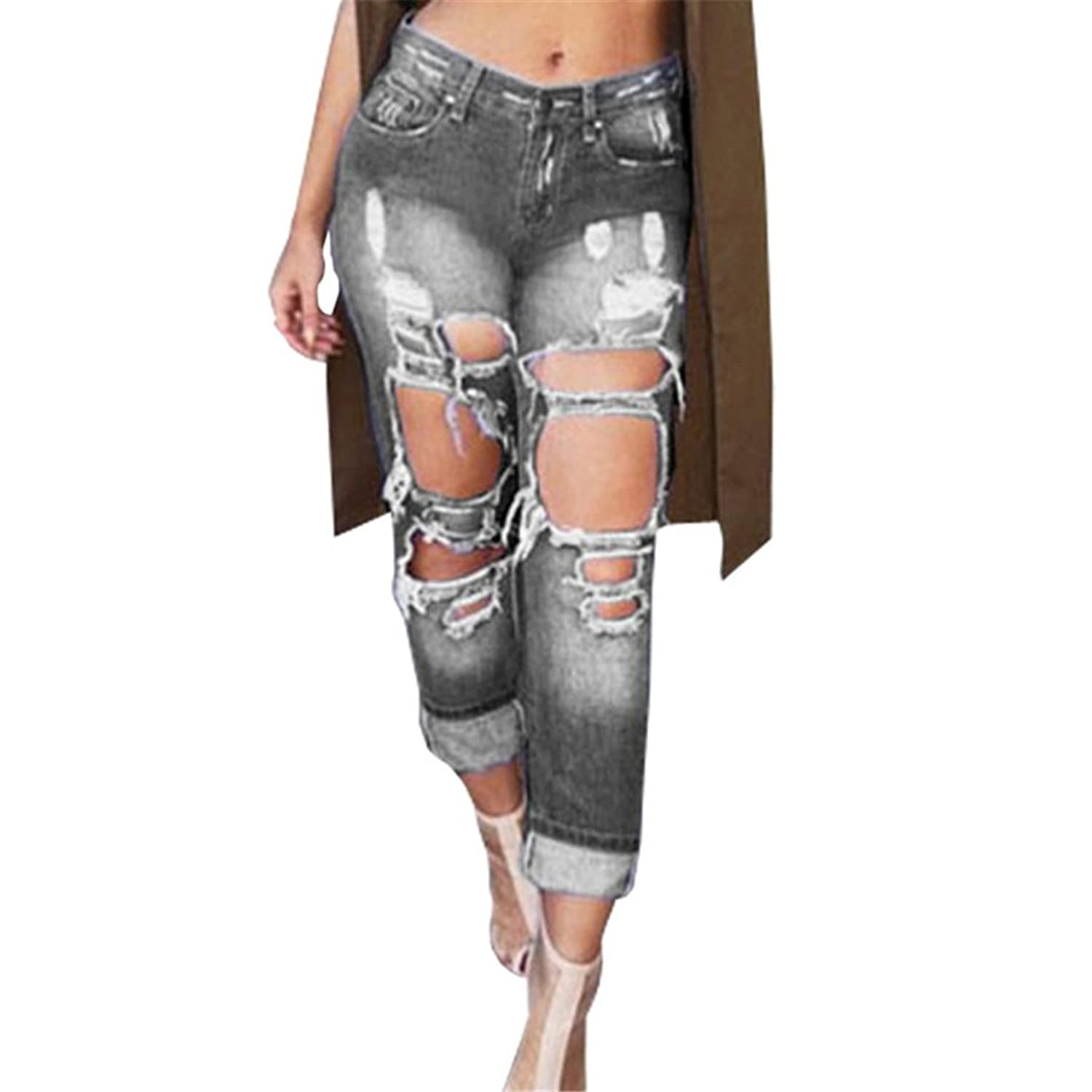 Women Destroyed Boyfriend Style Jeans Fashion Ripped Hollow out Bleached Jeans