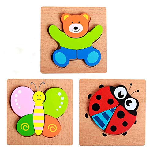 WisdKids Wooden Jigsaw Puzzles for Toddlers Kids 3D Board Block toys Animal Shape Puzzles Preschool Educational Toys for 3 4 5 Years Old Boys Girls ()