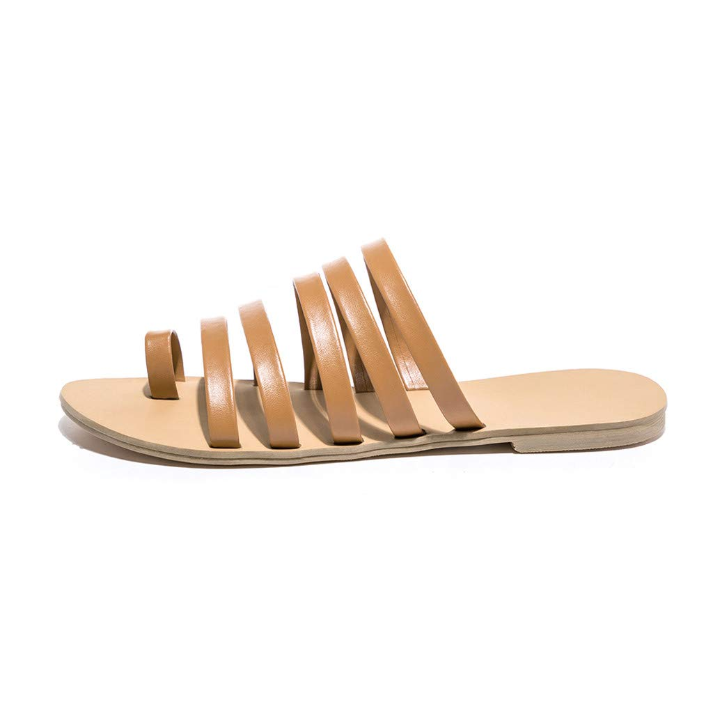 Women Slip On Ankle Sandals, lkoezi Lady Flat Heel Strap Slippers Beach Sandals Summer Roman Shoes Clearance