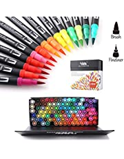 Hohuhu - Juego de rotuladores punta pincel doble para colorear libros, caligrafía y diario HOH-100B