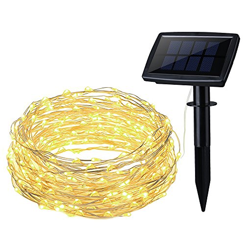 OMorc Solar Powered String Light 150 LED 50ft Solar String Lights Outdoor Copper Wire Lights Ambiance Lighting for Gardens Homes Parties