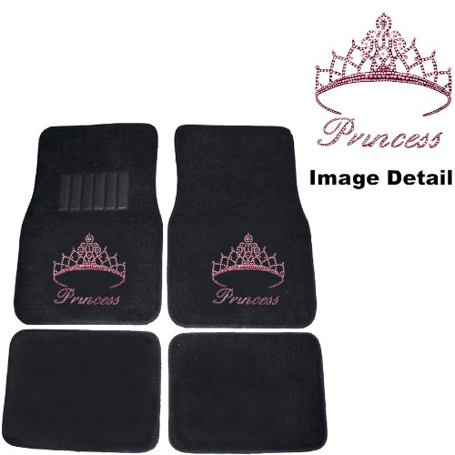 Pink Princess w/ Cute Crown Gem Crystal Studded Rhinestone Car Truck SUV Front & Rear Seat Carpet Floor Mats (Cute Car Mat Sets compare prices)