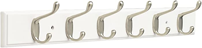 "Franklin Brass FBHDCH6-WSE-R, 27"" Hook Rail / Rack, with 6 Heavy Duty Coat and Hat Hooks, in White & Satin Nickel"