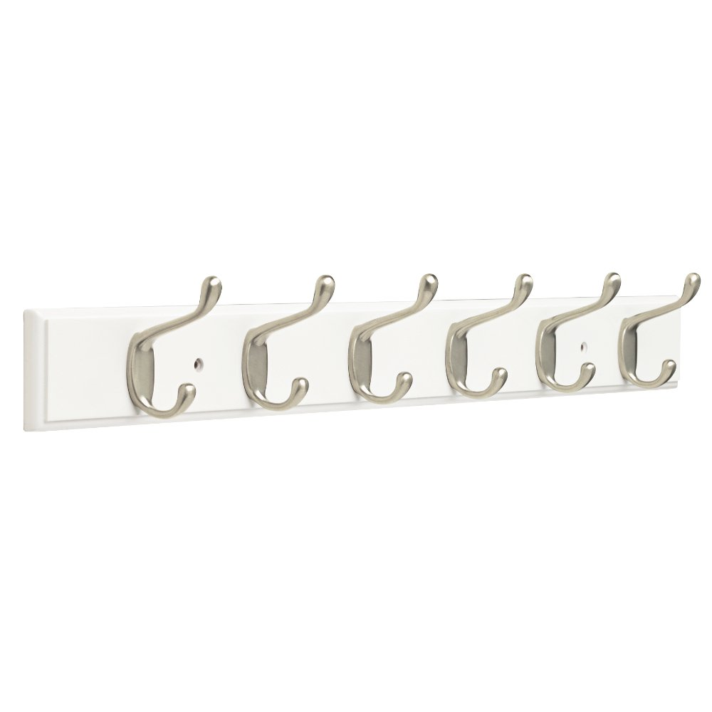 Franklin Brass FBHDCH6-WSE-R, 27'' Hook Rail / Rack, with 6 Heavy Duty Coat and Hat Hooks, in White & Satin Nickel by Franklin Brass