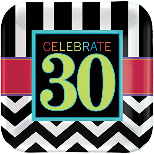 Must-Have Chevron and Stripes 30th Birthday Party Square Luncheon Plates Tableware, Pack of 8, Multi , 7