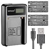 Neewer® Micro cargador USB para baterías + Pack de 2 2600 mAh NP-F550/570/530 baterías de repuesto para Sony HandyCams, Neewer Nanguang CN-160, CN-216, CN-126 LED luz, Polaroid en-cámaras de vídeo luces