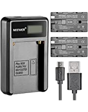 Neewer Micro USB Battery Charger + 2-Pack 2600mAh NP-F550/570/530 Replacement Batteries for Sony HandyCams, Neewer Nanguang CN-160,CN-216,CN-126 LED Light, Polaroid On-Camera Video Lights