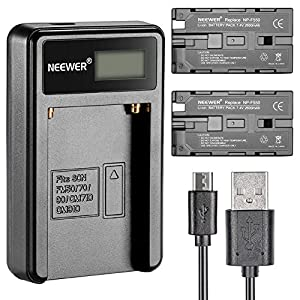 Neewer 90086570, Caricabatterie con Connettore Micro USB e Confezione da 2 Batterie di Ricambio 2600mAh NP-F550/570/530 per Sony Handycam, Neewer Nanguang CN-160, CN-216, CN-126 Luci LED, Luci On-fotocamera Polaroid 8 spesavip