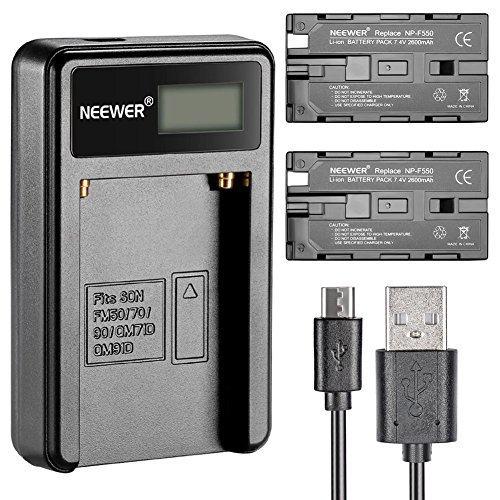 Neewer Micro USB Battery Charger + 2-Pack 2600mAh NP-F550/