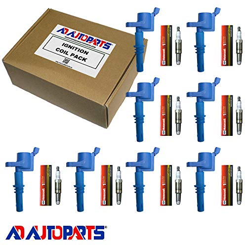 (Set of 8 Motorcraft Spark Plugs SP546 PZH14F + 8 AD Auto Parts Ignition Coils For 2005 2006 2007 2008 Ford F150 F-150 GDG511 GD511)