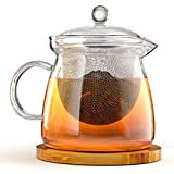 Teapot and Infuser Set with Bamboo Trivet in Beautiful Gift Box - Premium Quality Glass - Stainless Steel Removable Tea Strainer for Microwavable Kettle - Loose Leaf & Blooming Tea Pot - SUMMER SALE