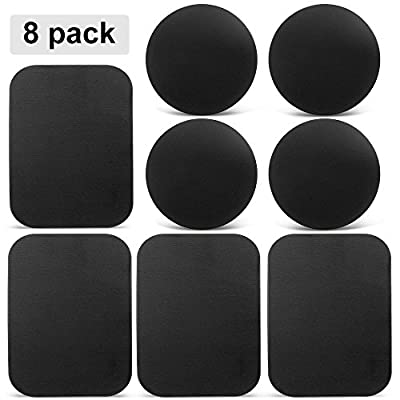 Mount Metal Plate, Volport 8 Pack Universal Metal Plate with Adhesive for Magnet Mount Magnetic Phone Car Mount Holder Cradle, 4 Rectangle and 4 Round