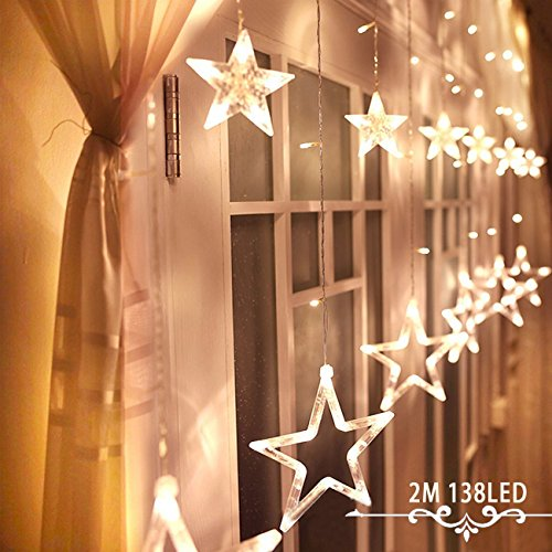 Smart Direct LED String Lights 138LEDs Curtain Lights 4xAA Batteries 12 Stars Warm White with Remoter for Decoration Wedding, Christmas, Holiday, Party and Home Improvement