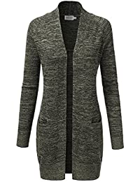 Womens Long Sleeve Open Front Marled Knitted Cardigan