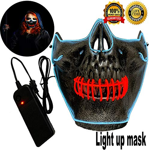 Halloween Mask Neon Mask led mask Scary Mask Light up Mask Cosplay Mask Lights up for Halloween Festival Party (Half Mask White&Red)]()