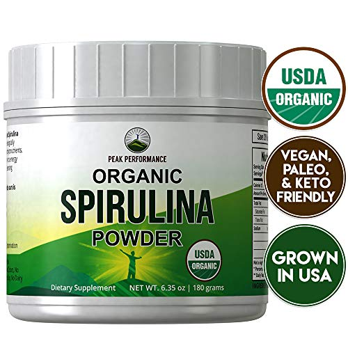 Organic Spirulina Powder by Peak Performance. Ecologically Grown Organic Vegan Algae Superfood. Non GMO, Lab Tested, Non Irradiated, Made in USA. Natural Chlorophyll. Powdered Supplement Espirulina