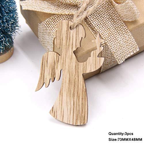 Mydufish 3PCS Vintage Christmas Wooden Pendants Ornaments DIY Wood Crafts Xmas Tree Orna ()
