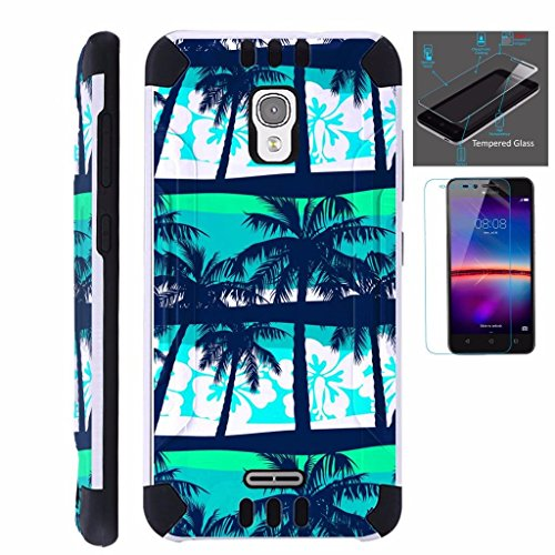 For Alcatel Pixi Theatre Case + Tempered Glass Screen Protector / Slim Dual Layer High Impact Armor Hybrid TPU KomBatGuard Phone Cover (Palm Tree)
