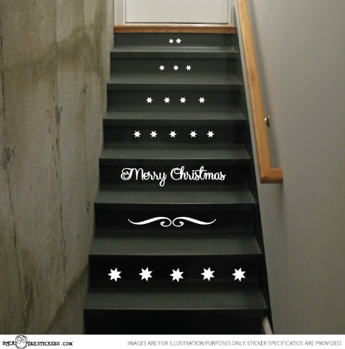 Amazon com christmas stairs vinyl decal stickers xmas staircase decoration by sticktak stickers st1904 home kitchen
