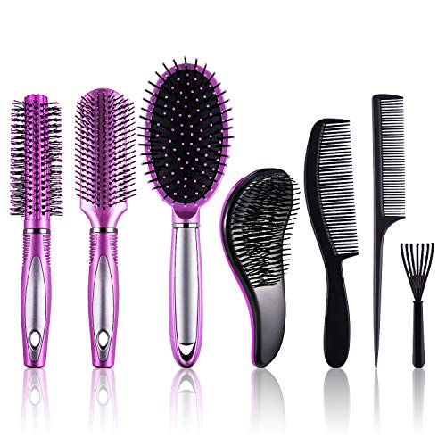 SIQUK 7 Pcs Hair Brush and Comb Set Round Brush Paddle Brush Detangle Hair Brush and Combs Wet Dry Brush for Women Men Hair Styling